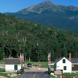 The entrance to the Mt. Washington Auto Road.  Glen House.  Mt. Adams is in the background. White Mountains. Greens Grant, NH