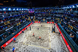 Centercourt with Julia Wouters and Esmee Priem in action during the first day of the beach volleyball event King of the Court at Jaarbeursplein on September 9, 2020 in Utrecht.