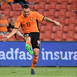 BRISBANE, AUSTRALIA - JANUARY 31: Jade North of the Roar passes the ball during the second qualifying round of the Asian Champions League match between the Brisbane Roar and Global FC at Suncorp Stadium on January 31, 2017 in Brisbane, Australia. (Photo by Patrick Kearney/Brisbane Roar)