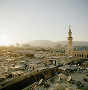 The skyline of the Al-Buzuriyah Souq and minaret of the Umayyad Mosque, The Grand Mosque of Damascus in Damascus, Syria