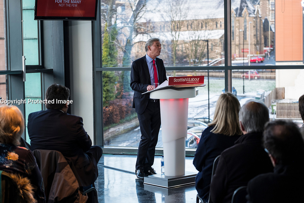 Scottish Labour Party Leader delivers first major speech at Abertay University on 19 January 2018, in Dundee outlining Scottish Labour's policies.