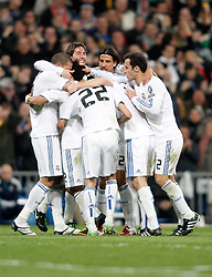 16.03.2011, Stadio Santiago di Bernabeu, Madrid, ESP, UEFA CL, Real Madrid vs Olympique de Lyon, im Bild Real Madrid's players celebrate during Champions League match. March 16, 2011. . EXPA Pictures © 2011, PhotoCredit: EXPA/ Alterphotos/ Alvaro Hernandez +++++ ATTENTION - OUT OF SPAIN / ESP +++++