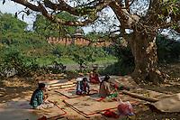 Myanmar (ex Birmanie), Mandalay, Inwa, ancienne capitale, fabrication de natte  // Myanmar (Burma), Mandalay, Inwa the old capital, women making plait