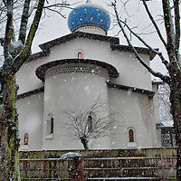 London 6th January  A woman walks in heavy snowfall at the London  Russian Orthodox  Cathedral of the Dormition of the Most Holy Mother of God and Holy Royal Martyrs. The Orthodox community will celebrate Christmas on the 7th of January in the Gregorian Calendar...***Agreed Fee's Apply To All Image Use***.Marco Secchi /Xianpix. tel +44 (0) 771 7298571. e-mail ms@msecchi.com .www.marcosecchi.com
