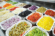 Cut and ready salad ingredients at a salad bar