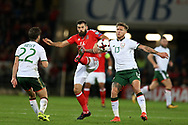 Joe Ledley of Wales © is challenged by Jeff Hendrick (13) and Harry Arter  (l) of Republic of Ireland . Wales v Rep of Ireland , FIFA World Cup qualifier , European group D match at the Cardiff city Stadium in Cardiff , South Wales on Monday 9th October 2017. pic by Andrew Orchard, Andrew Orchard sports photography