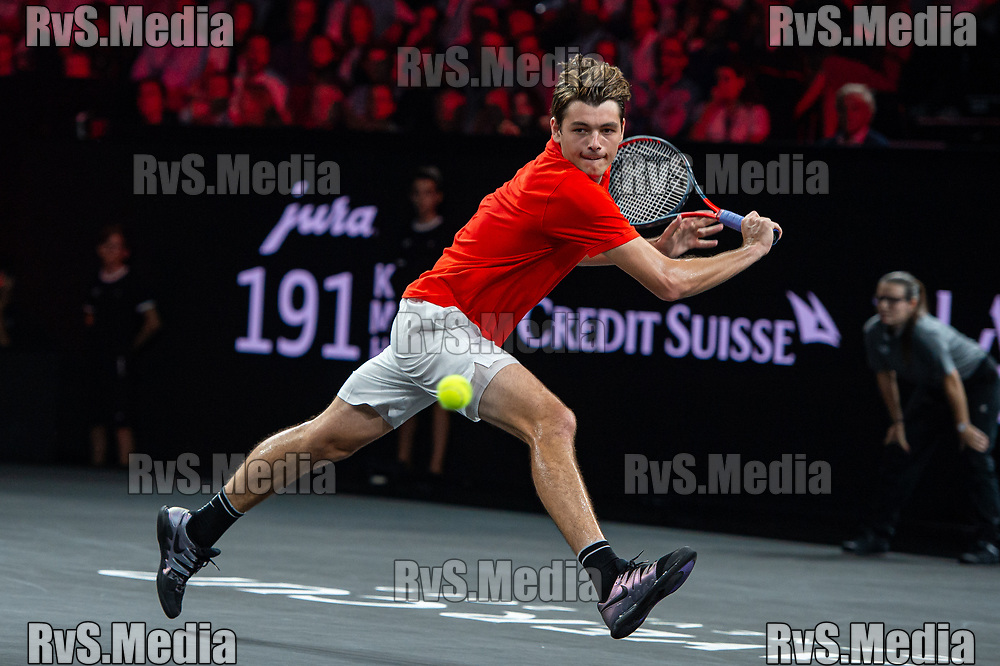 GENEVA, SWITZERLAND - SEPTEMBER 22: Taylor Fritz of Team World plays a backhand during Day 3 of the Laver Cup 2019 at Palexpo on September 22, 2019 in Geneva, Switzerland. The Laver Cup will see six players from the rest of the World competing against their counterparts from Europe. Team World is captained by John McEnroe and Team Europe is captained by Bjorn Borg. The tournament runs from September 20-22. (Photo by Monika Majer/RvS.Media)