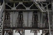 On each end of the bridge, forty cables are connected to a 1,100 ton counterweight used to raise and lower the span.