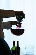 Silhouette of a woman sommelier decanting a red wine against a white background. Purple colour. The Restaurant Red at the Hotel Madero Sofitel in Puerto Madero, Buenos Aires Argentina, South America