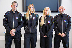 Zoran Kofol, Polona Hercog, Tadeja Majeric and Andrej Krasevec during press conference of Slovenian women Tennis team before Fedcup tournament in Tallinn, Estonia, on January 28, 2015 in Kristalna palaca, Ljubljana, Slovenia. Photo by Vid Ponikvar / Sportida
