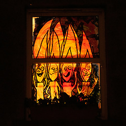 One of the more than eighty windows decorated by local people in Portobello as part of the Portobello Window Wanderland in the Edinburgh suburb.<br /> © Jon Davey/ EEm