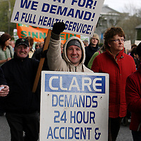 Joe Burke shows his support for 24 hour A&E services during the hospital protest rally in Ennis on Satruday.<br /> Photograph by Yvonne Vaughan