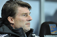 Swansea City Manager Michael Laudrup ahead of kick off.<br /> Barclays Premier League match, Swansea city v Newcastle Utd at the Liberty stadium in Swansea, South Wales on Wednesday 4th Dec 2013. pic by Phil Rees, Andrew Orchard sports photography,