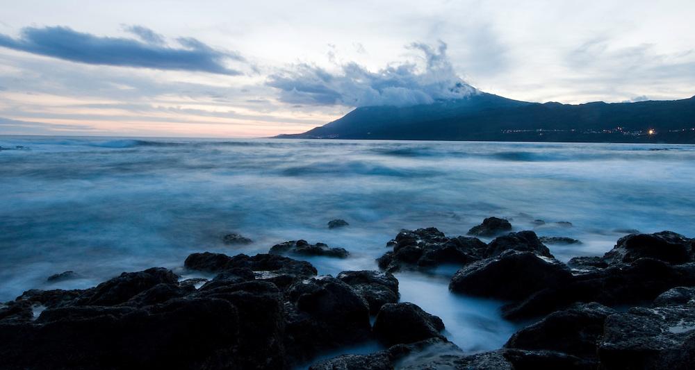 Evening sea in front of Pico vulcano, Pico, Azores, Portugal