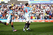 Mark Hudson of Huddersfield Town celebrates after scoring his teams 2nd goal to make it 2-1. Skybet football league championship match, Huddersfield Town v Derby county at the John Smith's stadium in Huddersfield, Yorkshire on Saturday 18th April 2015.<br /> pic by Chris Stading, Andrew Orchard sports photography.