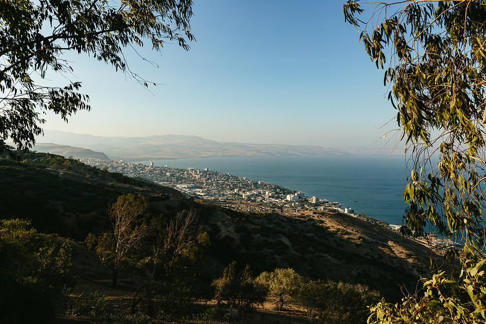 A view of the Sea of Galilee (Kinneret in Hebrew), and the city of Tiberias, from the Switzerland Forest in northern Israel