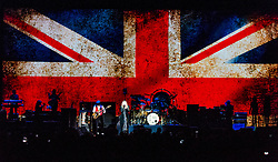 © Licensed to London News Pictures. 27/05/2015. London, UK.  Fleetwood Mac performing live at The O2 Arena, together with Christine Mc Vie who has rejoined the band.   In this picture from left - Christine McVie, John MicVie, Steve Nicks, Mick Fleetwood.  The band are due to headline the Isle of Wight Festival next month. Fleetwood Mac are a British-American rock band consisting of members Mick Fleetwood (drums), John McVie (bass guitar), Christine McVie (keyboards/vocals), Lindsey Buckingham (guitars, vocals), Stevie Nicks (vocals, tambourine).  Photo credit : Richard Isaac/LNP