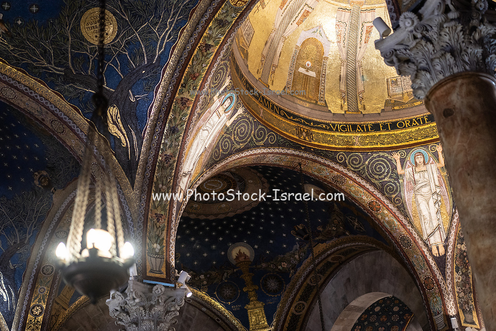 Interior of the Basilica of the Agony Church of all Nations, Gethsemane, Jerusalem, Israel. The Church of All Nations, also known as the Church of the Agony or the Basilica of the Agony, is located on Mount Olives in Jerusalem, next to the Garden of Gethsemane. It enshrines a section of bedrock where Jesus is said to have prayed before the night of his arrest.