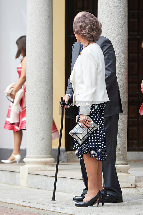 King Juan Carlos of Spain, Queen Sofia of Spain leave Asuncion de Nuestra Senora Church after the First Communion of Princess Sofia on May 17, 2017 in Aravaca near of Madrid.