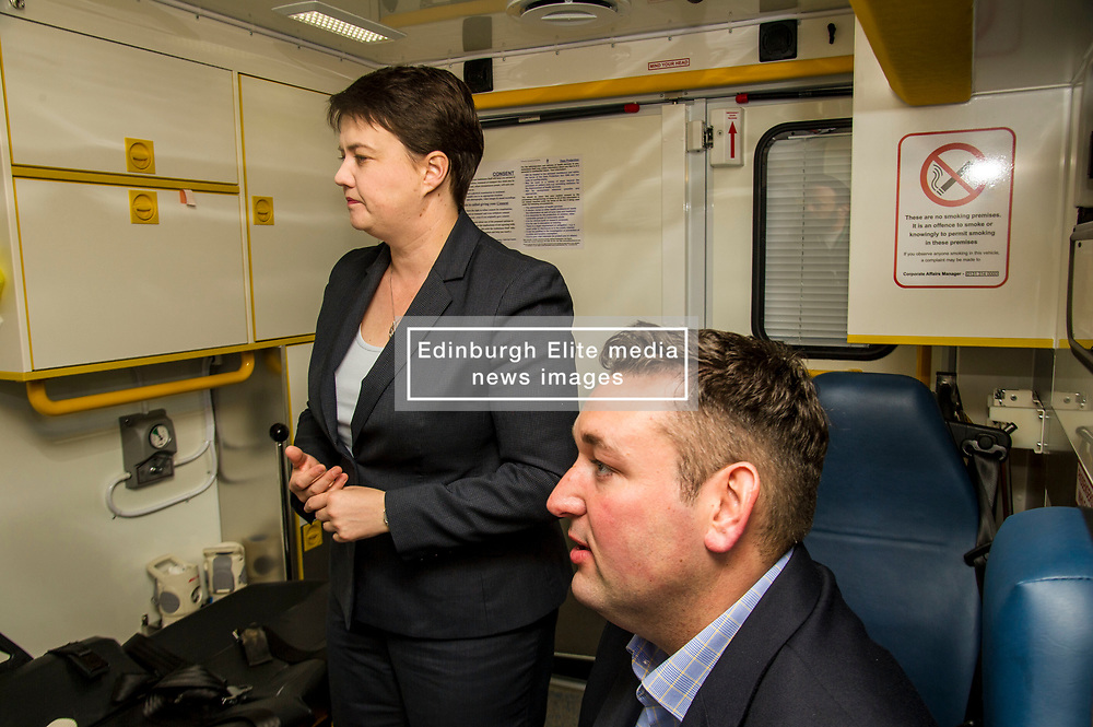 Pictured: Ruth Davidson and Mike Briggs.<br /> <br /> Scottish Conservative leader Ruth Davidson, MSP,  joined shadow health secretary Miles Briggs to launch the party's Health Advisory Board at the Scottish ASmbulance Service Southeast Divisional HQ.  Ms Davidson and Mr Briggs were shown the equipment in the average ambulance by Richard Paton, Ambulance Service manager and Callum Johnston, Specialist medic.<br /> <br /> Ger Harley   EEm 6 September 2017