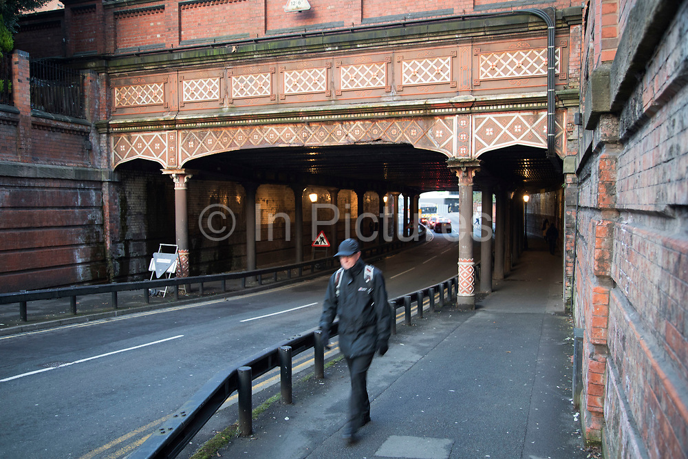 Victorian metalwork railway bridge in Central Birmingham, United Kingdom. Birmingham is a city whose industrial heritage and buildings are very much evident in the city centre, although there is much in the way of new building underway.