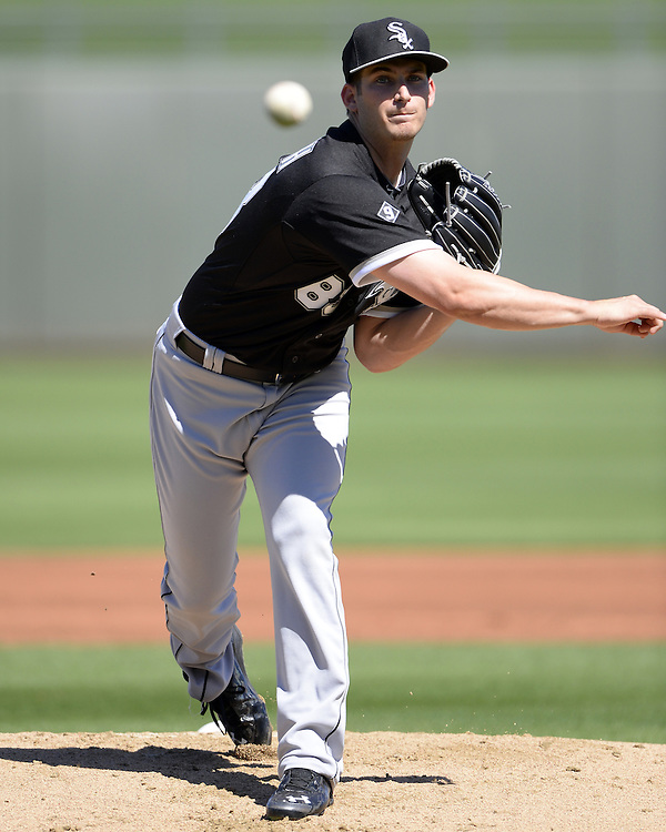 SURPRISE, AZ - MARCH 10:  Tyler Danish #83 of the Chicago White Sox pitches during the spring training game between the Kansas City Royals and Chicago White Sox on March 10, 2015 at Surprise Stadium in Surprise, Arizona. (Photo by Ron Vesely)   Subject:  Tyler Danish