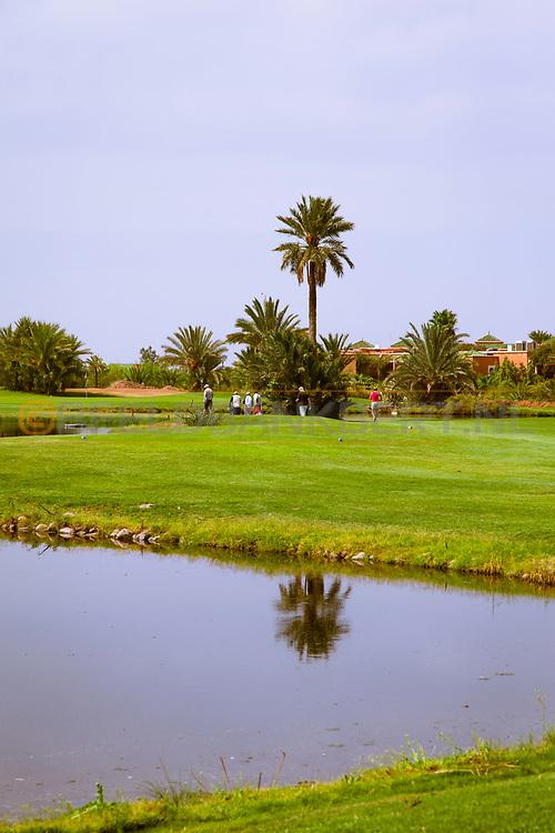 07-10-2015 -  Foto van Grote waterhindernissen bij PalmGolf Marrakech Palmeraie in Marrakech, Marokko. PalmGolf Marrakech Palmeraie was het eerste golfresort in Marokko. De 27-holes golfbaan  werd ontworpen door Robert Trent Jones Sr en valt onder het management van Troon Golf.