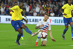March 21, 2019 - Orlando, Florida, USA - US forward Paul Arriola (7) and Ecuador defender Beder Caicedo (13) go for a ball during an international friendly between the US and Ecuador at Orlando City Stadium on March 21, 2019 in Orlando, Florida. .The US won the game 1-0...©2019 Scott A. Miller. (Credit Image: © Scott A. Miller/ZUMA Wire)