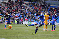 Anthony Pilkington of Cardiff city  scores his teams 1st goal from a penalty. Skybet football league championship match, Cardiff city v Preston NE at the Cardiff city stadium in Cardiff, South Wales on Saturday 27th Feb 2016.<br /> pic by  Andrew Orchard, Andrew Orchard sports photography.