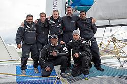 Sailing team for the race. Oman Sail's MOD70 Musandam races in the Eckernförde race at  Kiel week 2014, 21-06-2014, Kiel - Germany.
