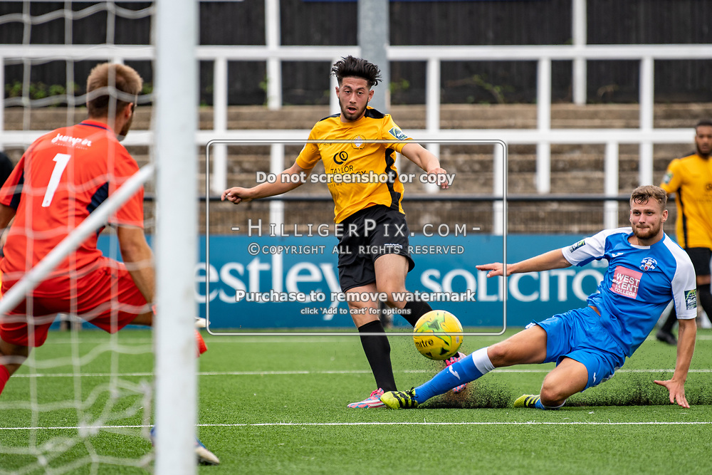BROMLEY, UK - JULY 13: Freddie Parker, of Cray Wanderers FC, crosses the ball during the Pre-season friendly match between Cray Wanderers FC and Tonbridge Angels FC at Hayes Lane on July 13, 2019 in Bromley, UK. <br /> (Photo: Jon Hilliger)