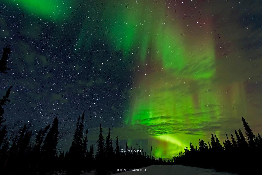 Aurora Borealis, Northern Lights, from north of Fairbank, Alaska