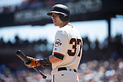 San Francisco Giants second baseman Kelby Tomlinson (37) waits for a Los Angeles Dodgers pitch at AT&T Park in San Francisco, California, on April 27, 2017. (Stan Olszewski/Special to S.F. Examiner)