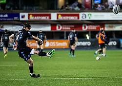Peter Horne of Glasgow Warriors converts<br /> <br /> Photographer Simon King/Replay Images<br /> <br /> Guinness PRO14 Round 15 - Cardiff Blues v Glasgow Warriors - Saturday 16th February 2019 - Cardiff Arms Park - Cardiff<br /> <br /> World Copyright © Replay Images . All rights reserved. info@replayimages.co.uk - http://replayimages.co.uk