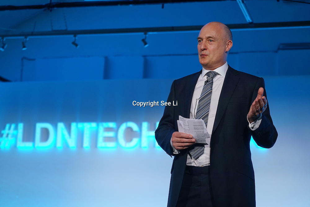 London,England,UK : 20 th June 2016 :  Speaker Prof. David Gann,Vice President of Innovation, Imperial College London at the London Technology Week 2016 opening press day at The Yard,Worship Street, London. Photo by See Li