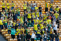 Norwich City supporters celebrate Teemu Pukki of Norwich City goal - Mandatory by-line: Phil Chaplin/JMP - 19/09/2020 - FOOTBALL - Carrow Road - Norwich, England - Norwich City v Preston North End - Sky Bet Championship