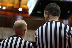 08 December 2012:  RefereeTodd VonSossan and Bryan Anslinger during an NCAA mens basketball game between the Western Michigan Broncos and the Illinois State Redbirds (Missouri Valley Conference) in Redbird Arena, Normal IL
