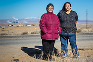 Sarah Jane White and Victoria Gutierrez, mother and daughter Diné environmental activists near the san Juan Generating Plant.