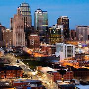 Aerial photo of downtown Kansas City skyline at dusk, December 2015.
