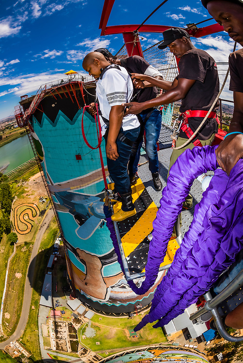 100 meter (328 foot) bungee jump at Orlando Towers at the decomissioned Orlando Power Station (former coal fired power station), Soweto, Johannesburg, South Africa.