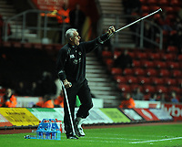 """St Mary's Ground Southampton v Wolverhampton Wanderers (1-2) Championship 15/11/2008<br /> Wolves manager Mick """"Long John"""" McCarthy still on crutches after last week's operation - urges his team to victory<br /> Photo Roger Parker Fotosports International"""