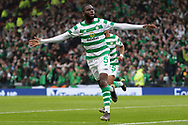Odsonne Edouard celebrates his 2nd goal of the game and his teams lead during the William Hill Scottish Cup Final match between Heart of Midlothian and Celtic at Hampden Park, Glasgow, United Kingdom on 25 May 2019.