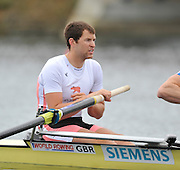 Eton, United Kingdom  GBR M2- Dan RITCHIE, at the start of their heat of the men's pair at the 2012 GB Rowing Senior Trials, Dorney Lake. Nr Windsor, Berks.  Saturday  10/03/2012  [Mandatory Credit; Peter Spurrier/Intersport-images]