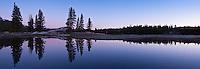 Dawn reflection in pond, Tuolumne meadows, Yosemite national park, California, USA