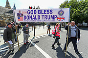 Donald Trump Supporters stand against the XR demonstrators who gathered at Parliament Square during an Extinction Rebellion climate change protest in central London on Tuesday, Sept 1, 2020. (VXP Photo/ Vudi Xhymshiti)
