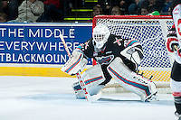 KELOWNA, CANADA - OCTOBER 23: Michael Herringer #30 of Kelowna Rockets defends the net against the Prince George Cougars on October 23, 2015 at Prospera Place in Kelowna, British Columbia, Canada.  (Photo by Marissa Baecker/Shoot the Breeze)  *** Local Caption *** Michael Herringer;