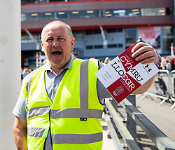 A programme seller outside of the stadium<br /> <br /> Photographer Simon King/Replay Images<br /> <br /> Friendly - Wales v England - Saturday 17th August 2019 - Principality Stadium - Cardiff<br /> <br /> World Copyright © Replay Images . All rights reserved. info@replayimages.co.uk - http://replayimages.co.uk