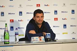 November 15, 2017 - London, England, United Kingdom - Grigor Dimitrov of Bulgaria speaks to the media on day four of the Nitto ATP World Tour Finals at O2 Arena, London on November 15, 2017. (Credit Image: © Alberto Pezzali/NurPhoto via ZUMA Press)