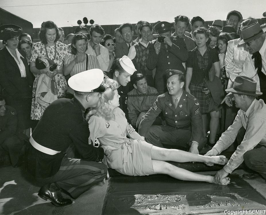 1943 or 49? Betty Grable's hand/footprint ceremony at the Chinese Theater