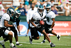 Philadelphia Eagles Cornerback Trae Williams #37 runs with an interception  during the Philadelphia Eagles NFL training camp in Bethlehem, Pennsylvania at Lehigh University on Saturday August 1st 2009. (Photo by Brian Garfinkel)